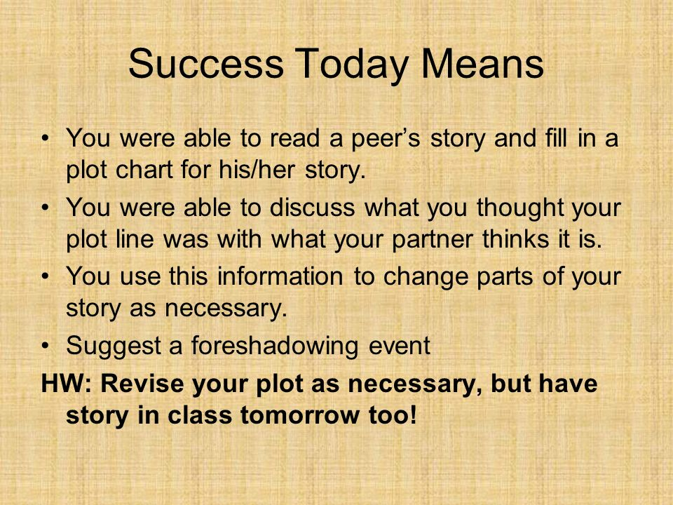 Success Today Means You were able to read a peer's story and fill in a plot chart for his/her story.
