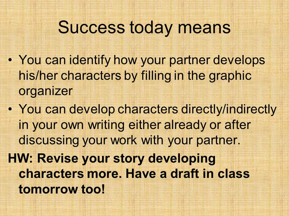 Success today meansYou can identify how your partner develops his/her characters by filling in the graphic organizer.
