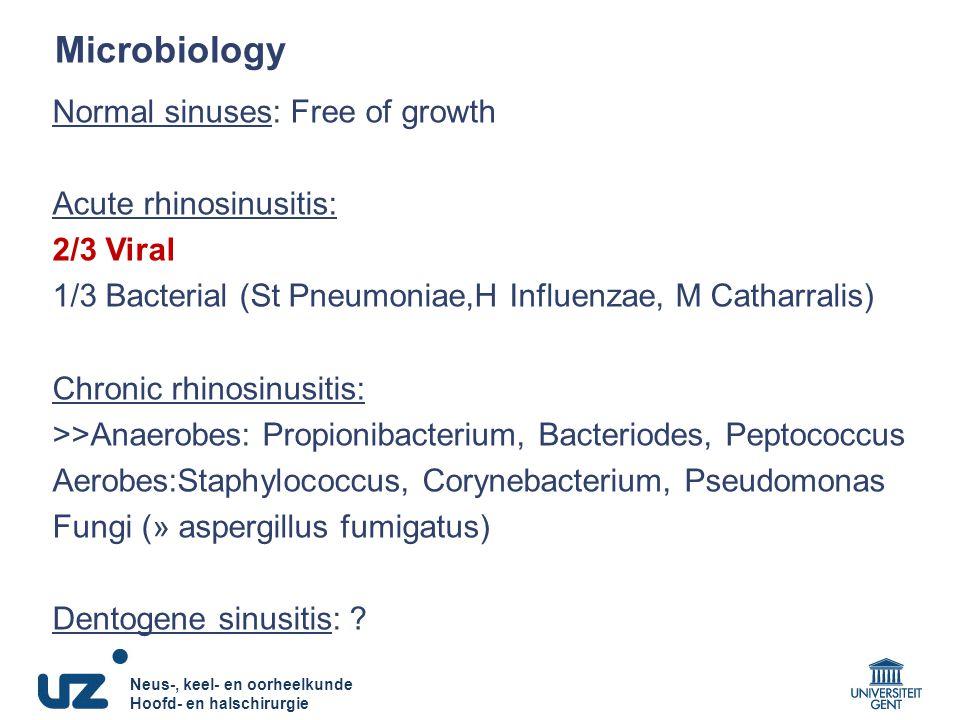 Microbiology Normal sinuses: Free of growth Acute rhinosinusitis: