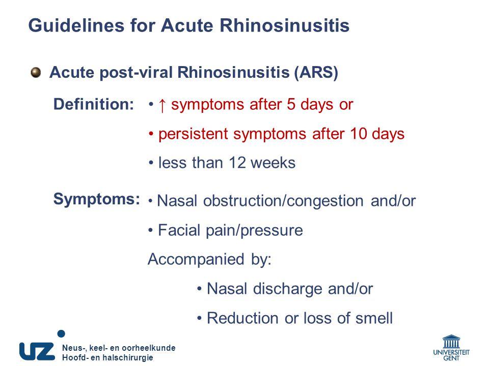 Guidelines for Acute Rhinosinusitis