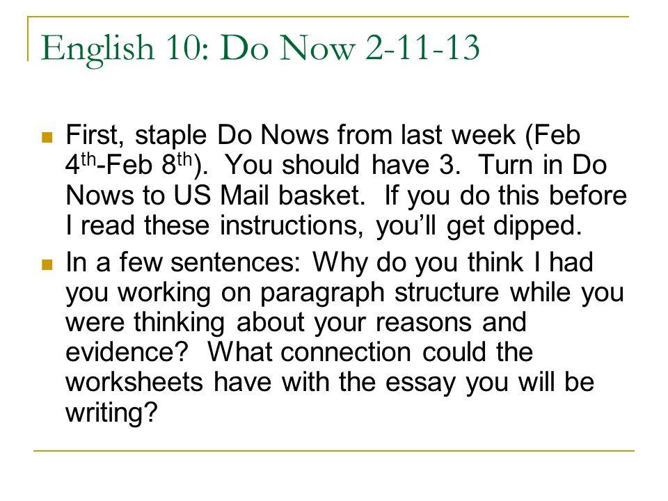 English 10: Do Now 2-11-13