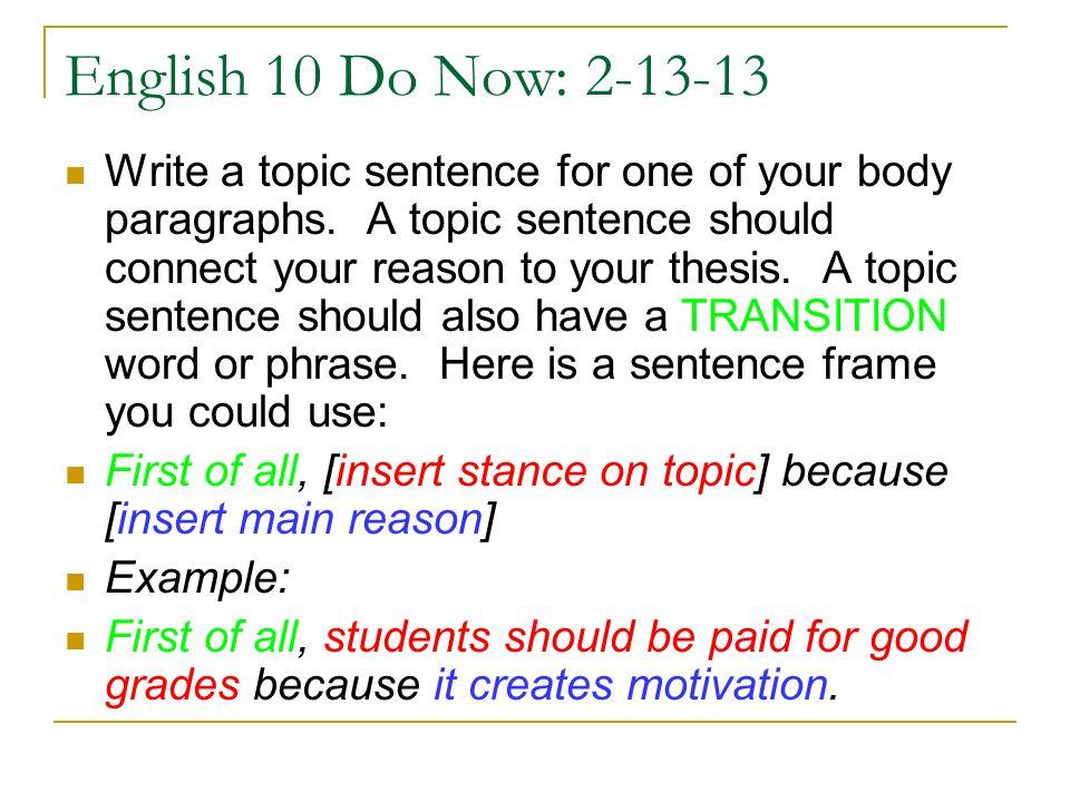 English 10 Do Now: 2-13-13