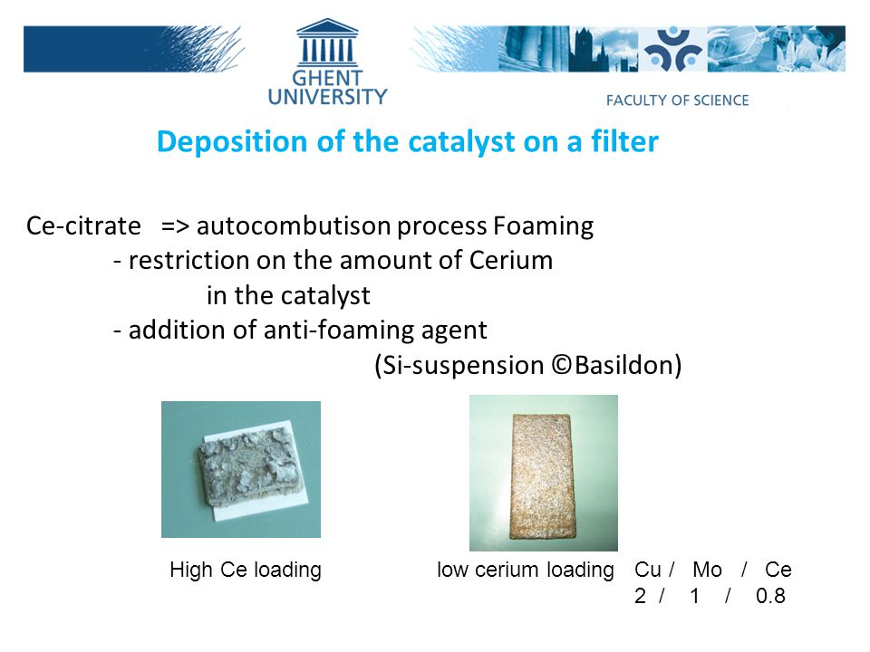 Deposition of the catalyst on a filter