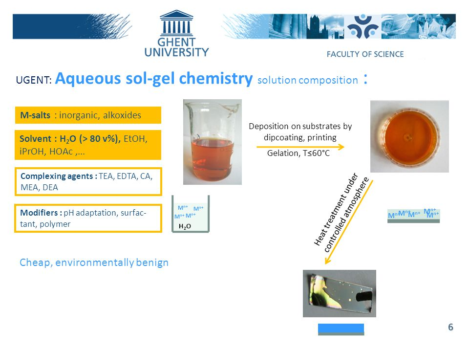 UGENT: Aqueous sol-gel chemistry solution composition :