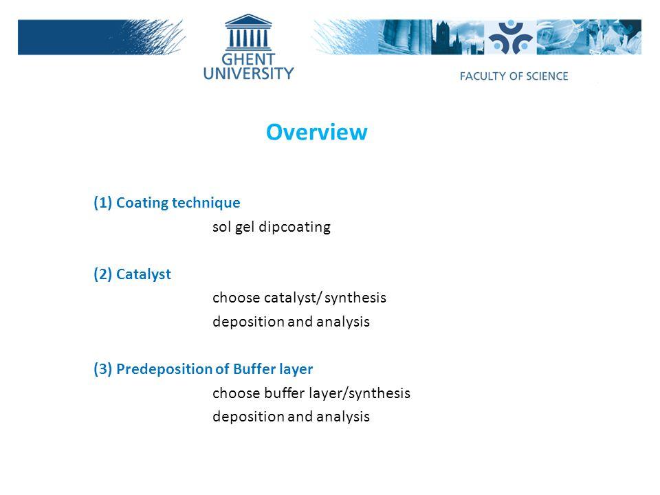 Overview (1) Coating technique sol gel dipcoating (2) Catalyst