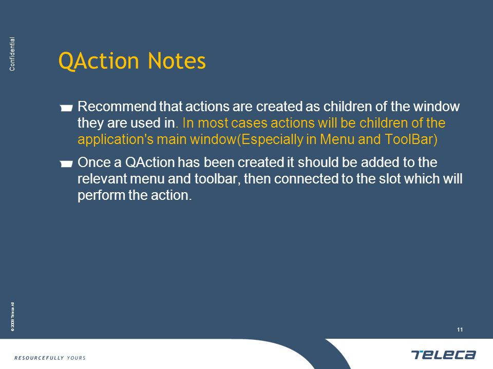 QAction Notes