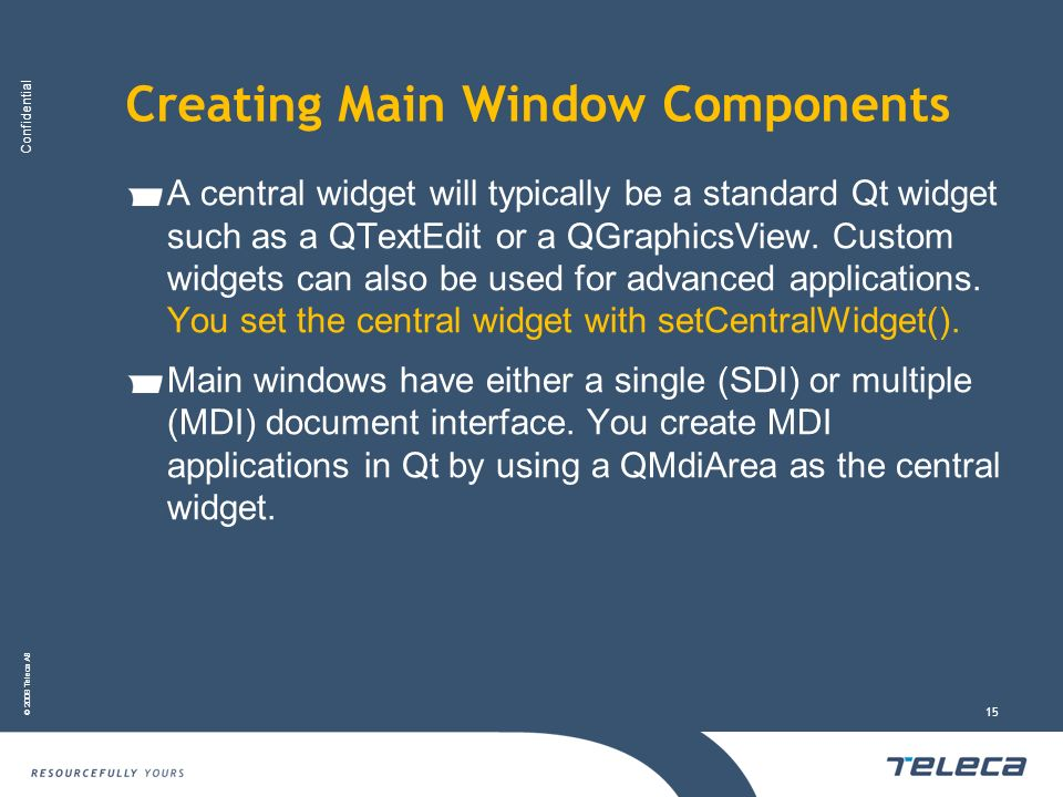 Creating Main Window Components
