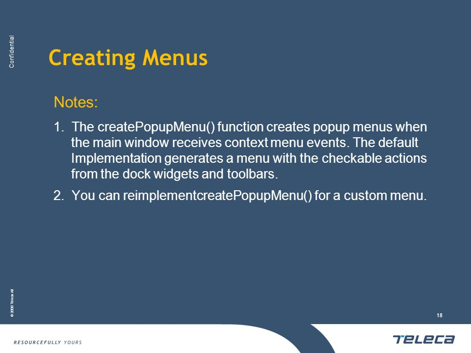 Creating Menus Notes: