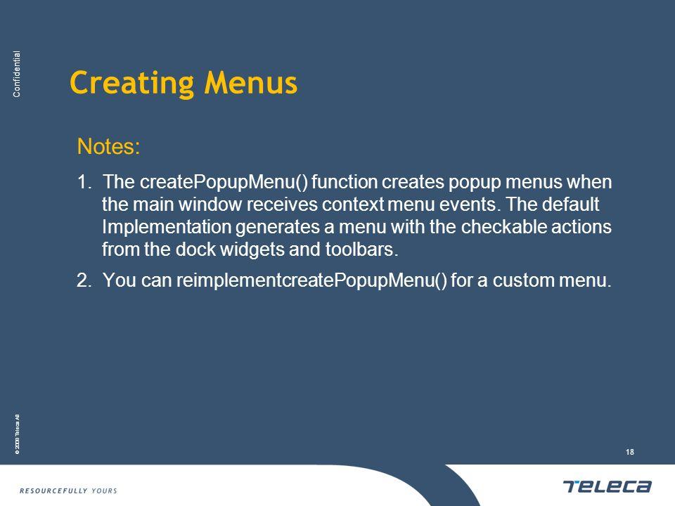 Creating Menus Notes: