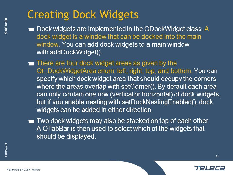 Creating Dock Widgets