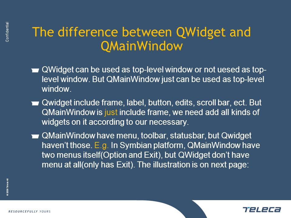 The difference between QWidget and QMainWindow