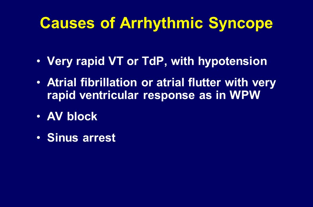 Causes of Arrhythmic Syncope