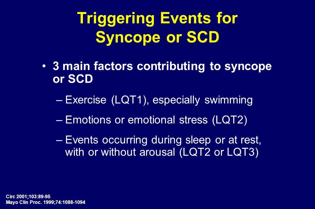 Triggering Events for Syncope or SCD