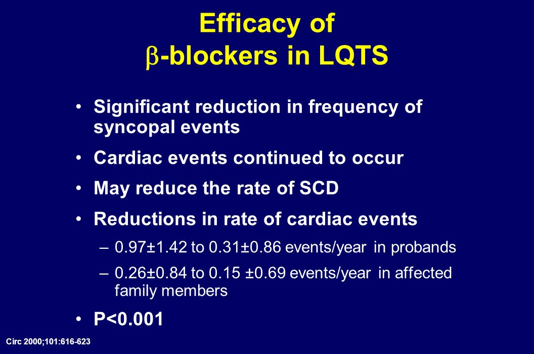 Efficacy of -blockers in LQTS