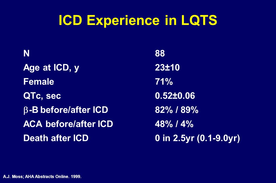 ICD Experience in LQTS N 88 Age at ICD, y 23±10 Female 71%
