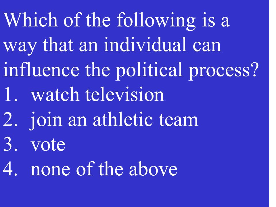 Which of the following is a way that an individual can influence the political process.