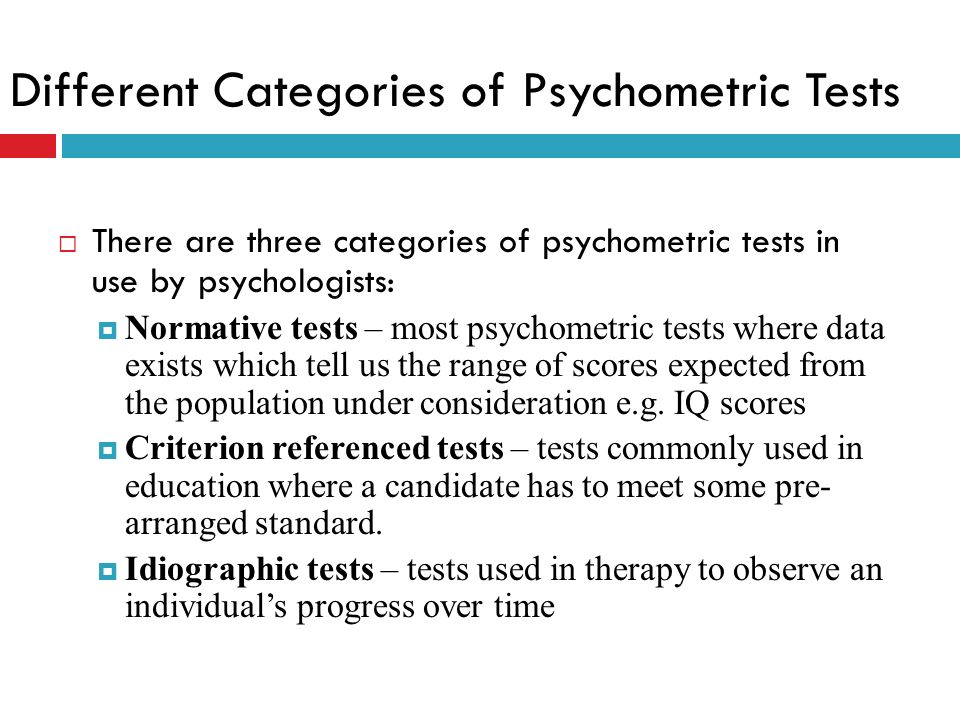 Different Categories of Psychometric Tests