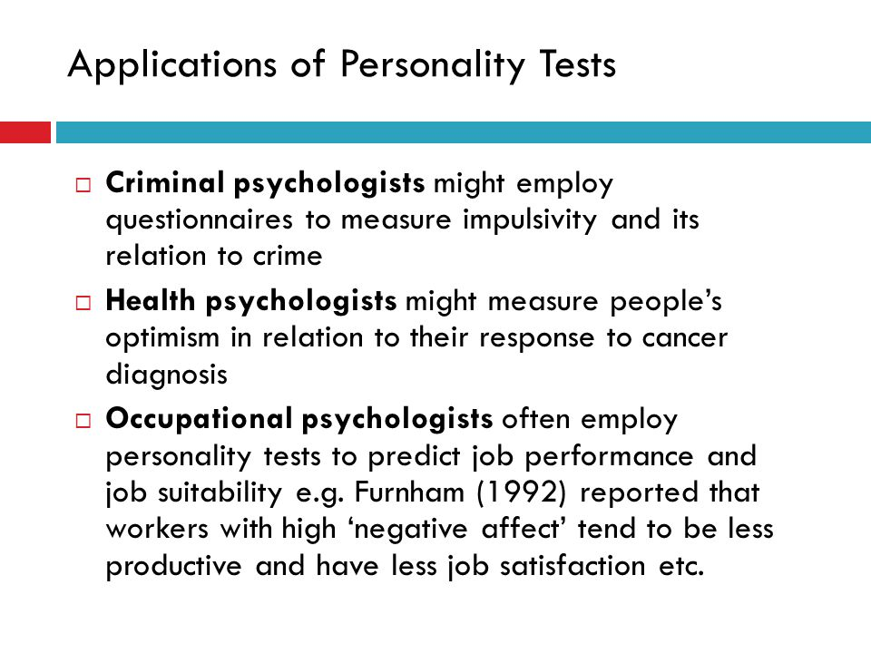 Applications of Personality Tests