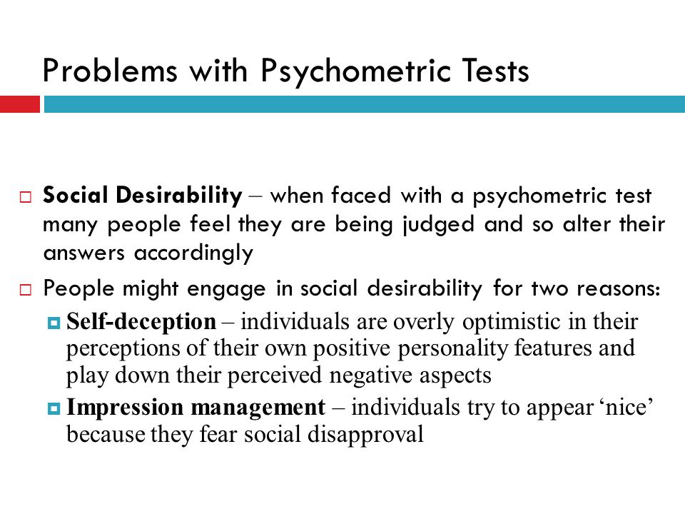 Problems with Psychometric Tests
