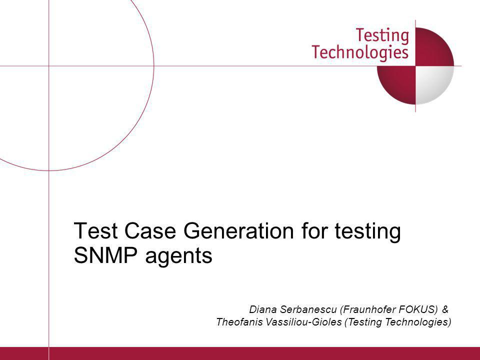 Test Case Generation for testing SNMP agents
