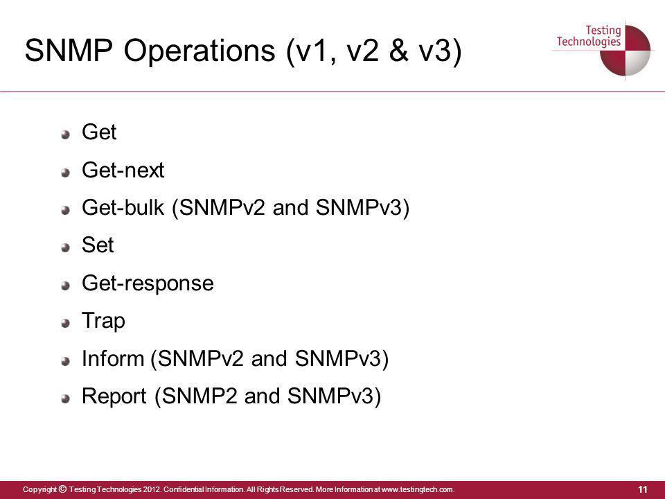 SNMP Operations (v1, v2 & v3)