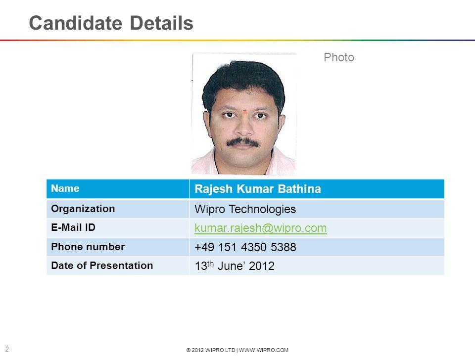 Candidate Details Photo Rajesh Kumar Bathina Wipro Technologies