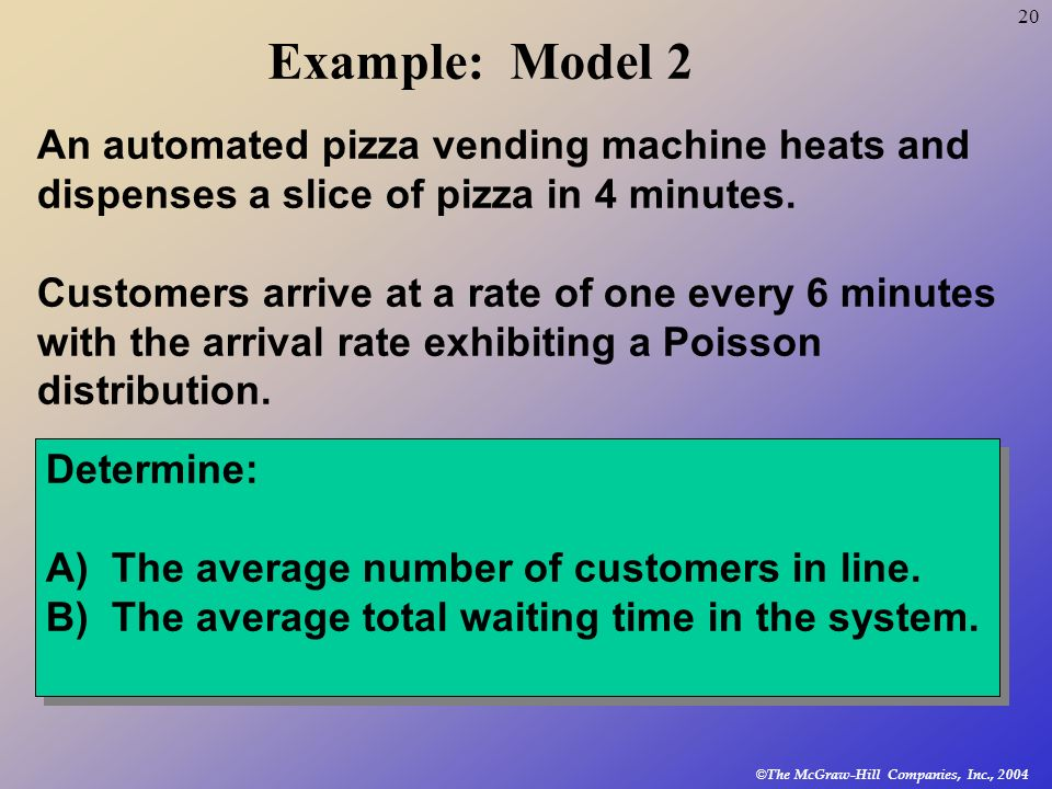 Example: Model 2 An automated pizza vending machine heats and