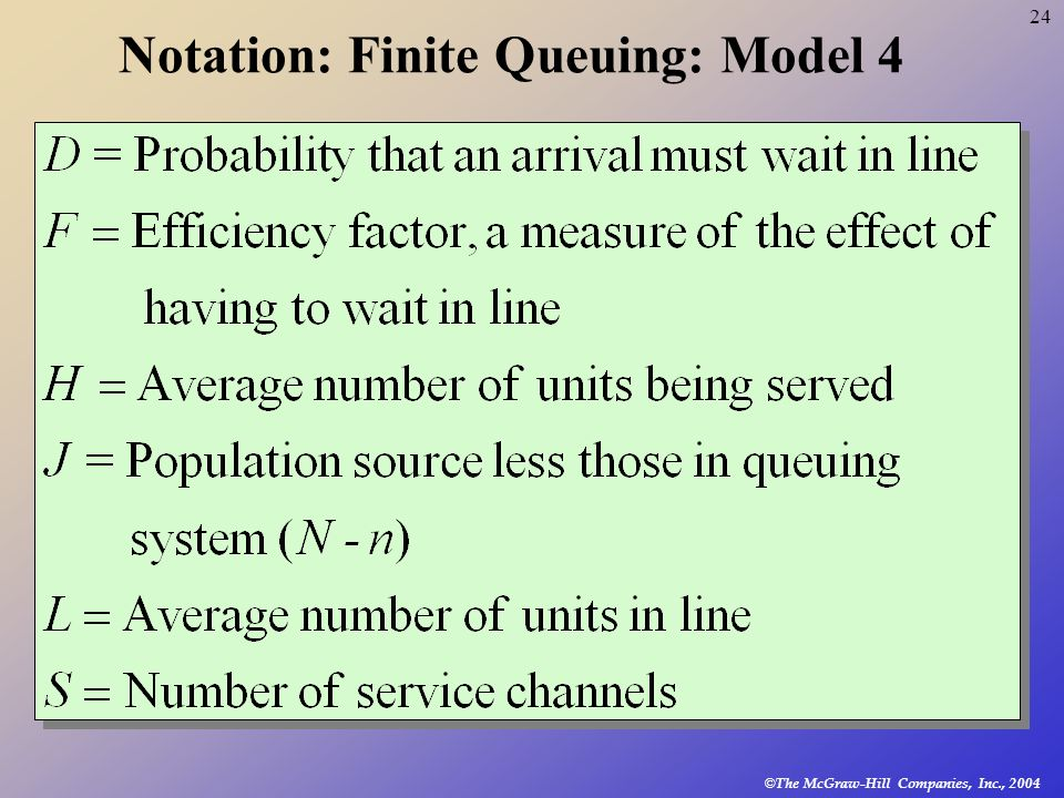 Notation: Finite Queuing: Model 4