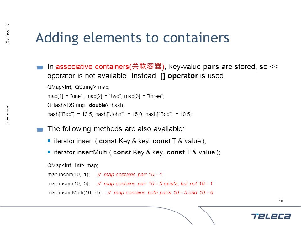 Adding elements to containers