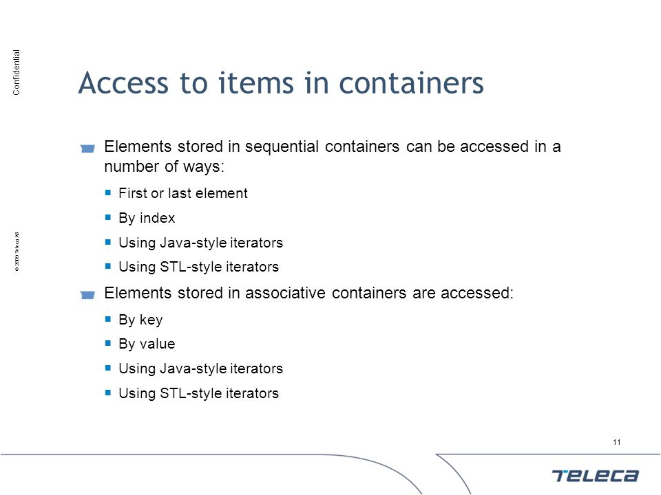 Access to items in containers
