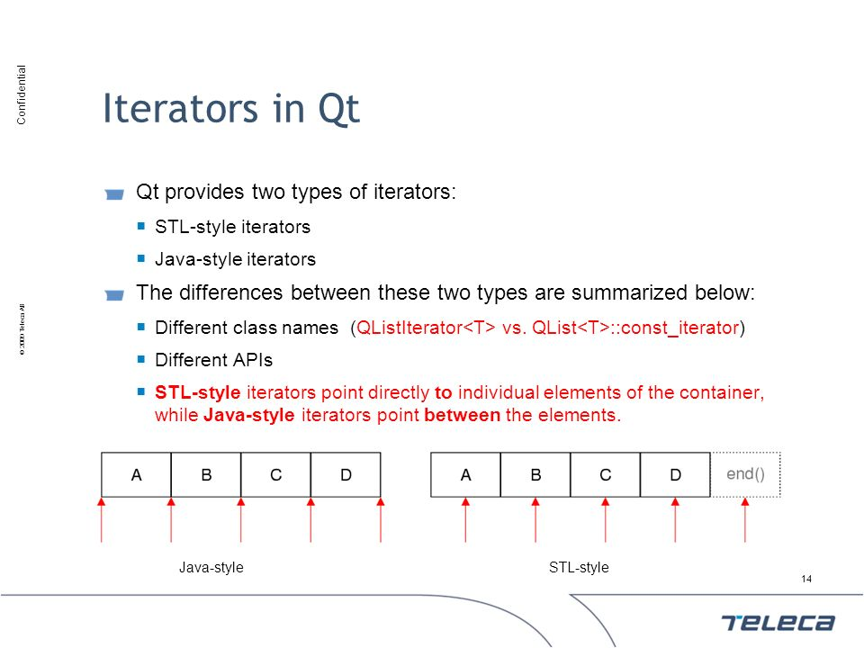 Iterators in Qt Qt provides two types of iterators: