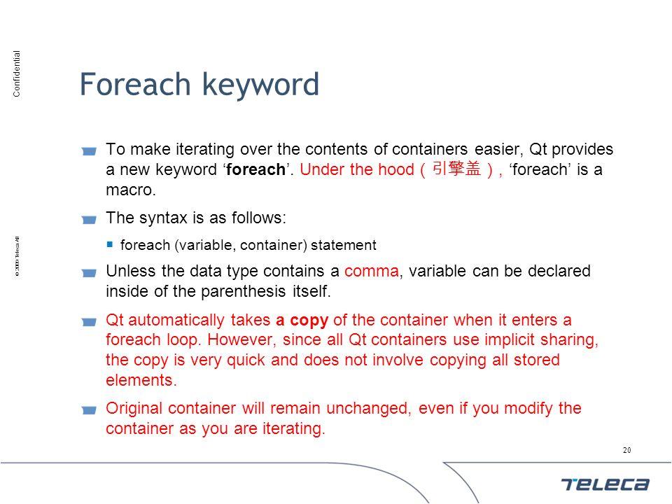 Foreach keyword