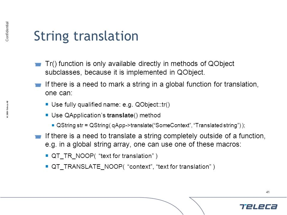 String translation Tr() function is only available directly in methods of QObject subclasses, because it is implemented in QObject.