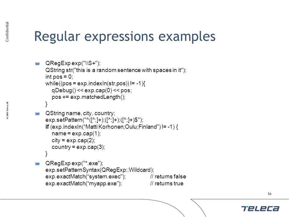 Regular expressions examples