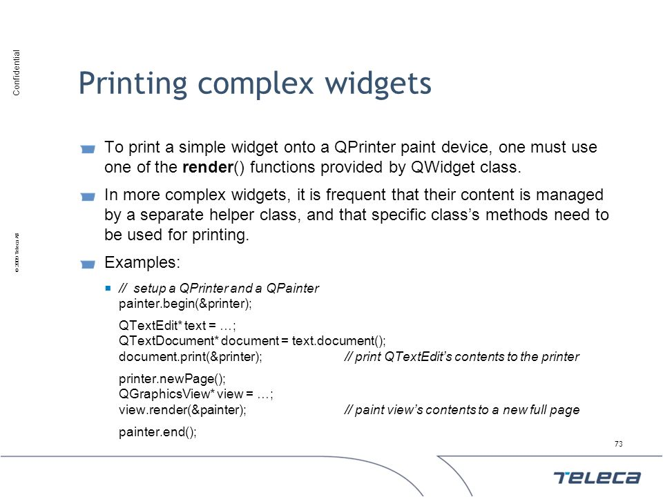 Printing complex widgets