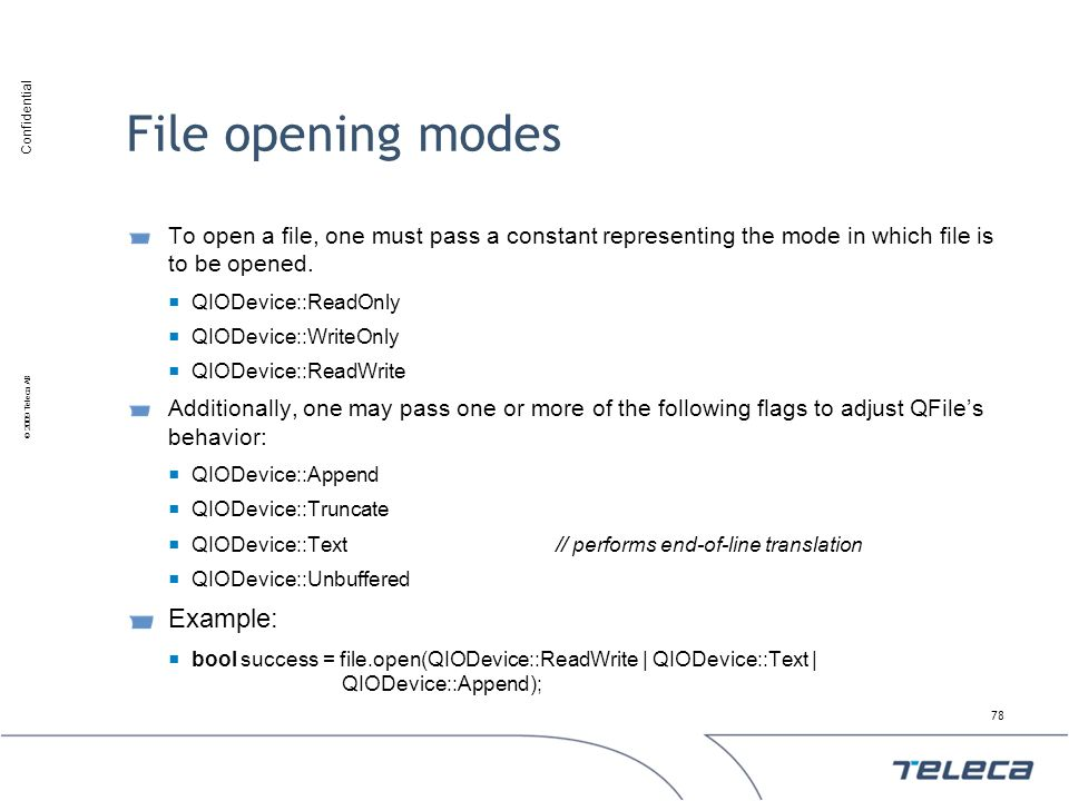 File opening modes Example: