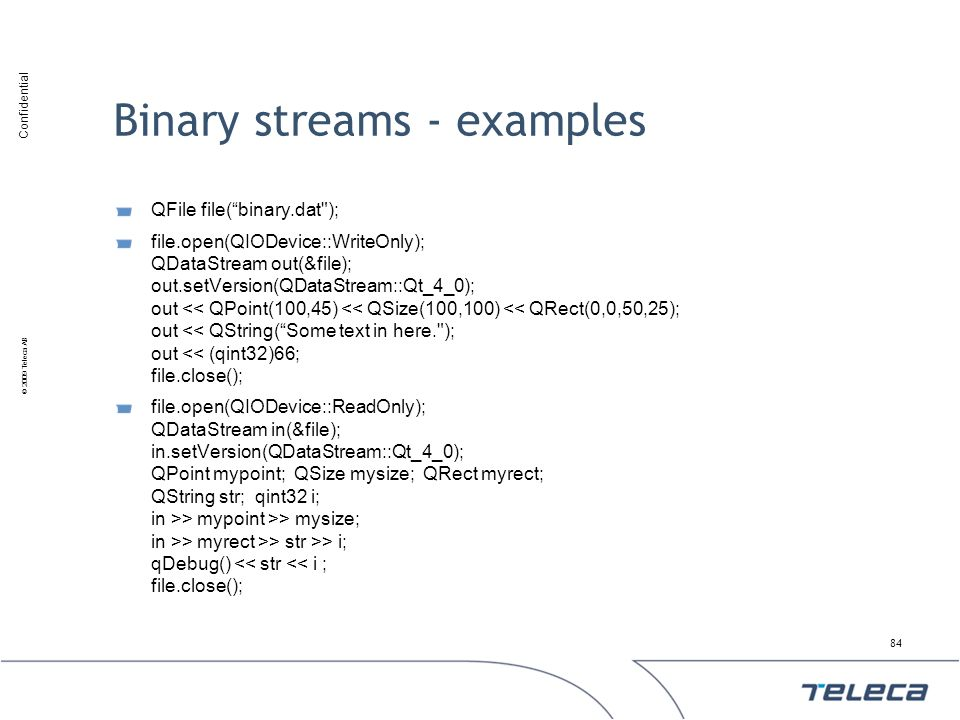 Binary streams - examples