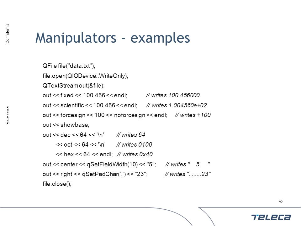 Manipulators - examples