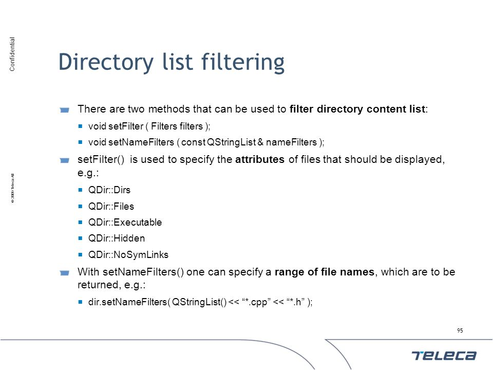 Directory list filtering