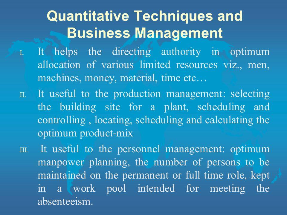 Quantitative Techniques and Business Management