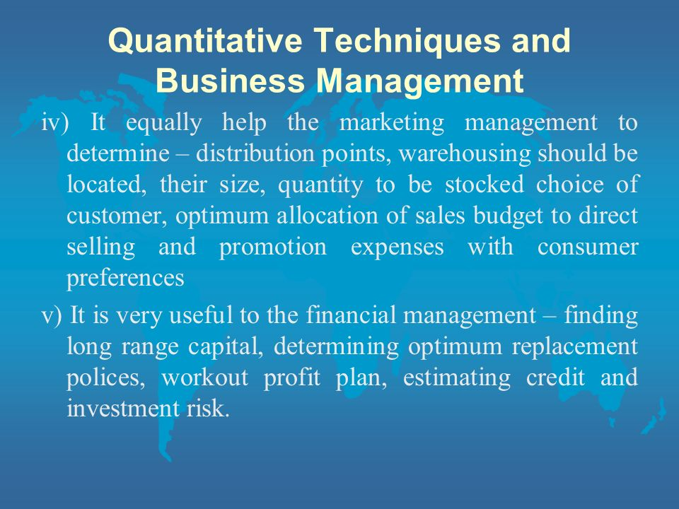 Quantitative Techniques and Business Management
