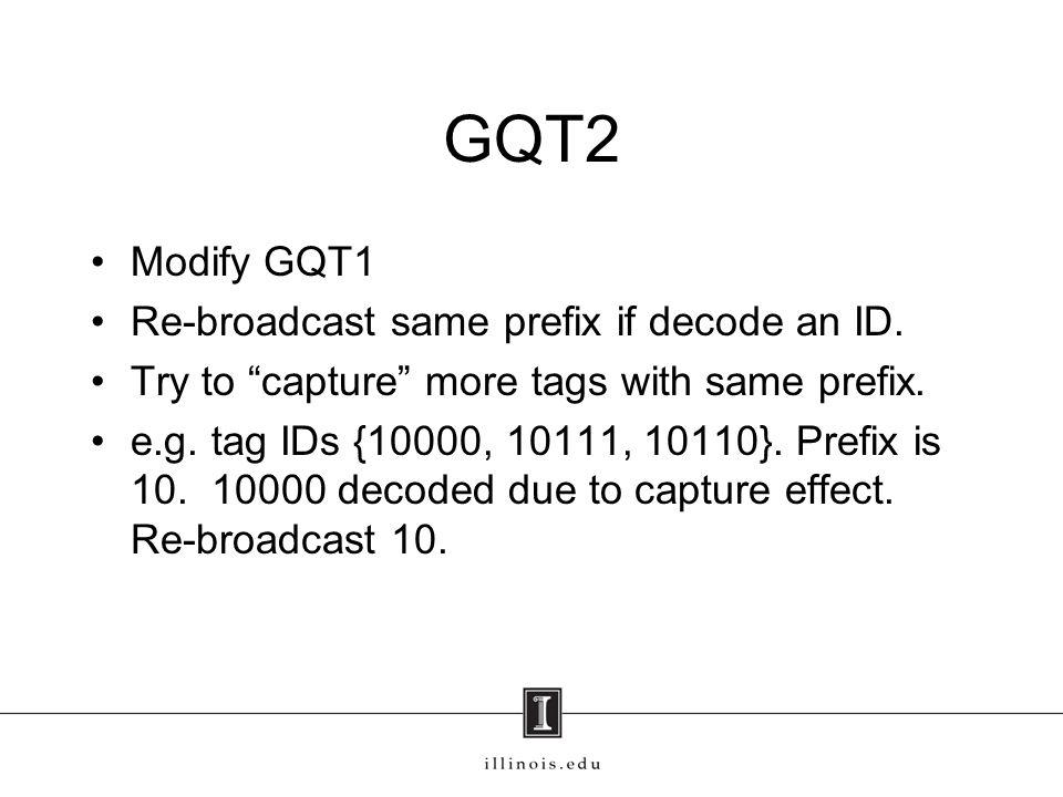 GQT2 Modify GQT1 Re-broadcast same prefix if decode an ID.