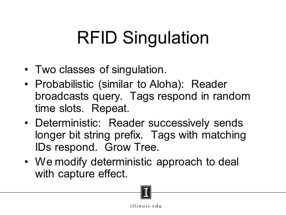 RFID Singulation Two classes of singulation.