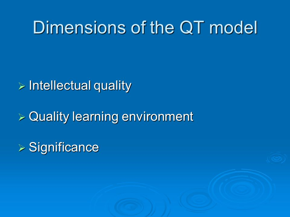 Dimensions of the QT model