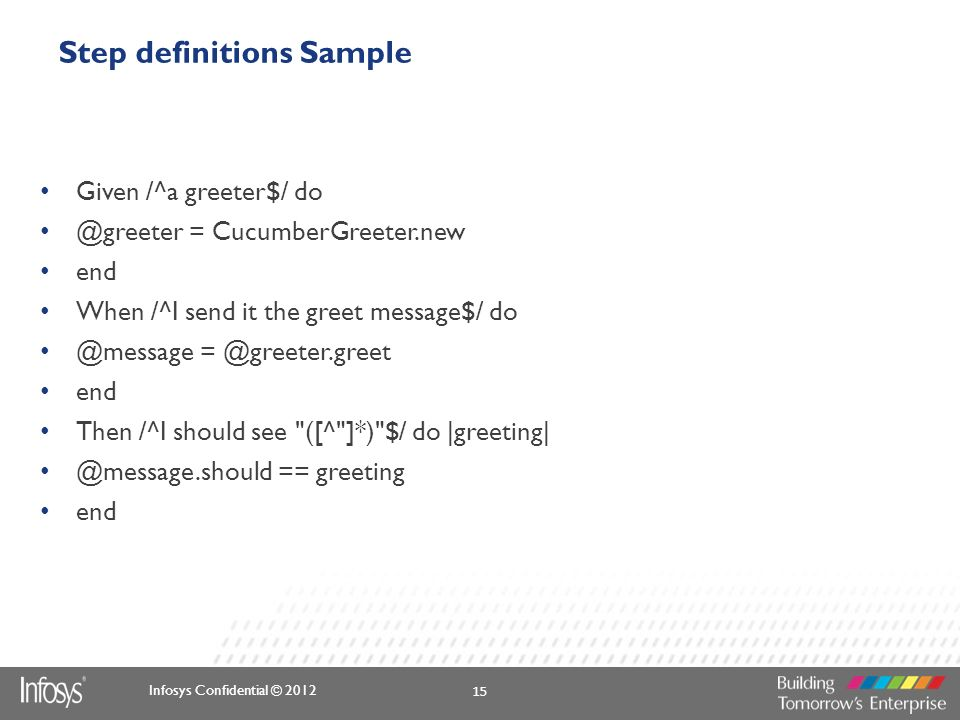 Step definitions Sample