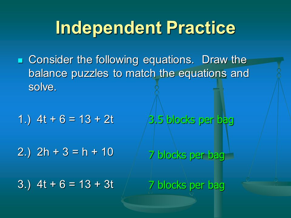 Independent Practice Consider the following equations. Draw the balance puzzles to match the equations and solve.