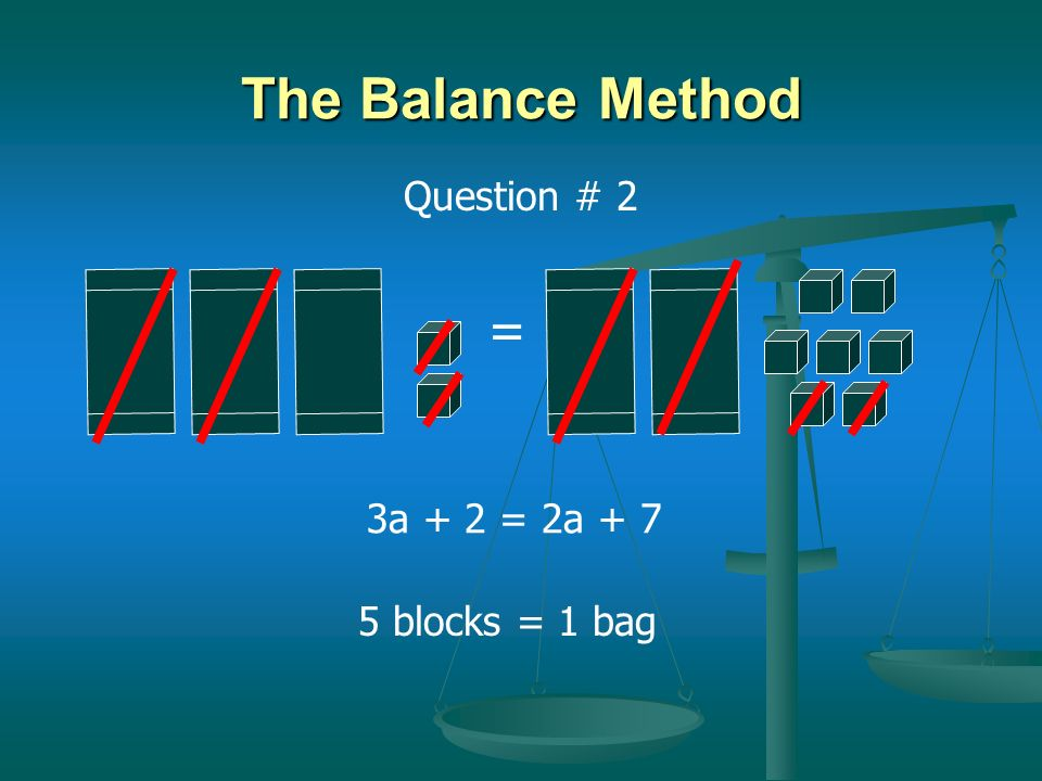 The Balance Method Question # 2 = 3a + 2 = 2a + 7 5 blocks = 1 bag