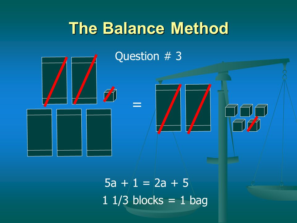 The Balance Method Question # 3 = 5a + 1 = 2a + 5 1 1/3 blocks = 1 bag