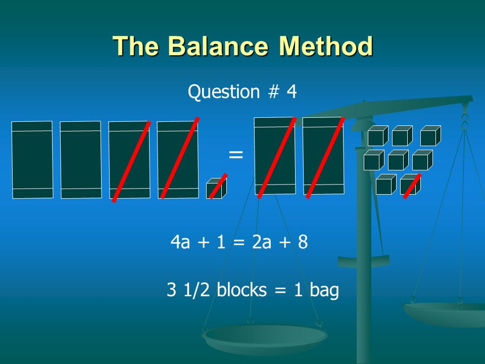 The Balance Method Question # 4 = 4a + 1 = 2a + 8 3 1/2 blocks = 1 bag