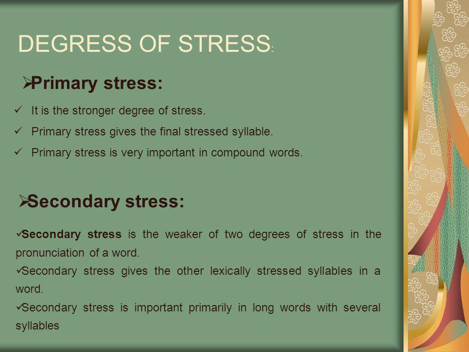 DEGRESS OF STRESS: Primary stress: Secondary stress: